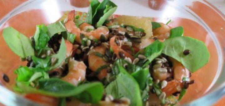 Salade de lentilles vertes aux crevettes
