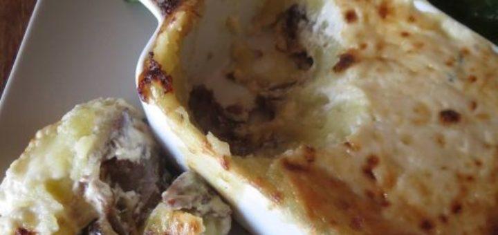 Parmentier de canard confit à la crème de parmesan