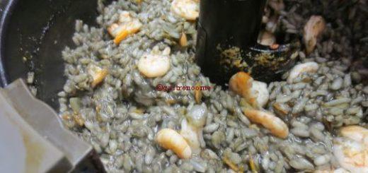 Risotto noir aux crevettes actifry